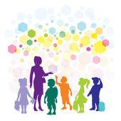 Teacher and children — Stock Vector