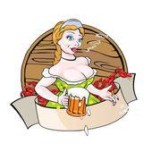 Waitress with beer — Stock Vector