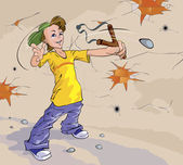 Boy with a slingshot — Stock Vector