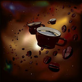 Coffee in space — Stock Vector
