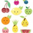 Smiley Faces Fruit Icons — Stock Vector