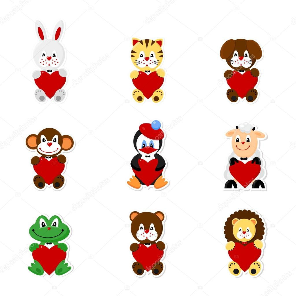 Vector icons set of cute animals for Vanlentine's Day — Stock Vector #19096757