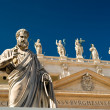 Statue Apostle in front of the Basilica of St. Peter, Vatican — Stock Photo #13705136