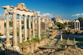 Temple of Saturn. View of the Roman Forum in Rome, Italy — Stock Photo