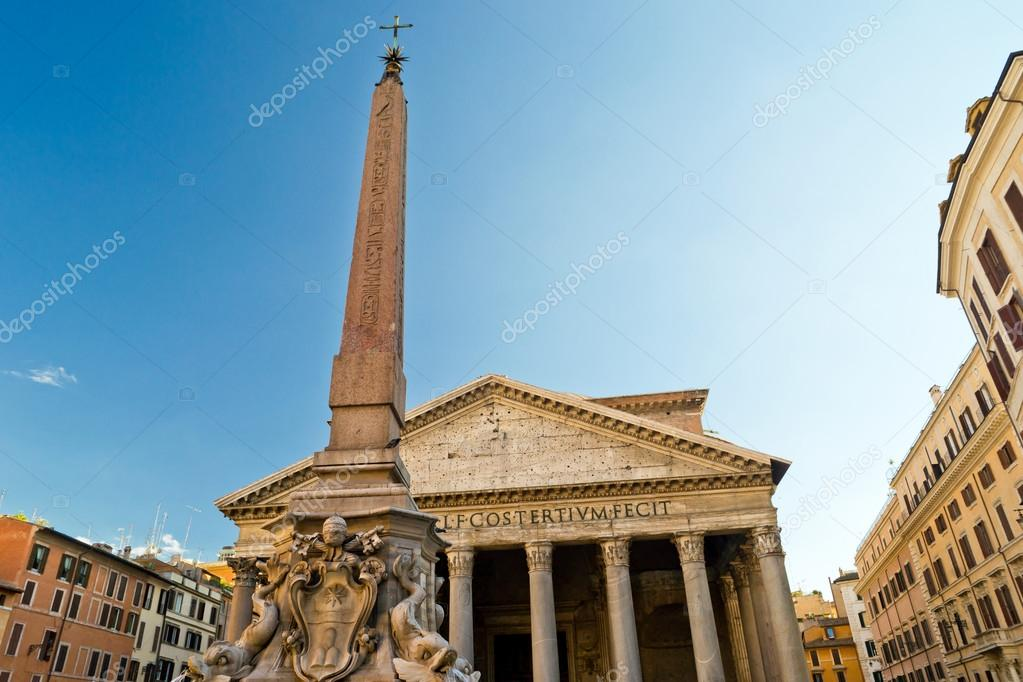 The Pantheon and Ancient Egyptian obelisk in Rome, Italy — Stock Photo #15690949