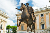 The equestrian statue of Marcus Aurelius in Capitoline Hill — Stock Photo