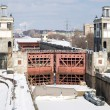 Stock Photo: Floodgates on Moscow canal in winter