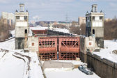 Floodgates on the Moscow canal in winter — Stock Photo