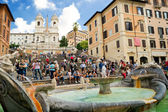 The Spanish Steps, seen from Piazza di Spagna with Fountain Fontana della Barcaccia circa october 2012, Rome. — Stock Photo