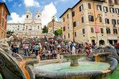 The Spanish Steps, seen from Piazza di Spagna with Fountain Fontana della Barcaccia circa october 2012, Rome. — Stock Photo