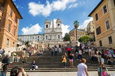The Spanish Steps, seen from Spanish square (Piazza di Spagna), october 2012, Rome — Stock Photo