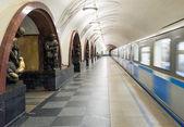 火车在地铁站 ploschad revolyutsii 在莫斯科,俄罗斯 — 图库照片