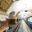 Постер, плакат: Train at the metro station Krasnopresnenskaya in Moscow Russia