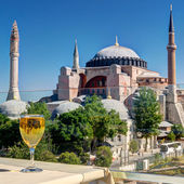 View of the Hagia Sophia from the restaurant, Istanbul. — Stock Photo