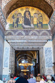 Ancient mosaic image of the entrance to the Hagia Sophia — Stock Photo