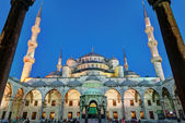 Facade Blue Mosque at night in Istanbul, Turkey — ストック写真