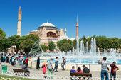 Tourists walk next to Hagia Sophia in Istanbul, Turkey — Stock Photo