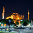View of the Hagia Sophia at night in Istanbul, Turkey — 图库照片