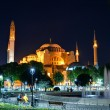 View of the Hagia Sophia at night in Istanbul, Turkey — Stock Photo