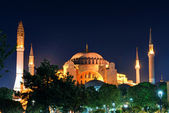 View of the Hagia Sophia at night in Istanbul — Stock Photo