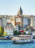 The Golden Horn and Galata district at sunset, Istanbul, Turkey — Stock Photo