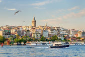 View of Galata district at sunset, Istanbul, Turkey — Stock Photo