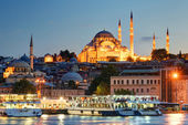 The historical center of Istanbul in the evening, Turkey — Stock Photo