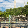 Stock Photo: The Serpent Column and Blue Mosque minarets in Istanbul, Turkey.