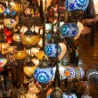 Colorful Turkish lanterns offered for sale at the Grand Bazaar in Istanbul, Turkey — Stock Photo #27388241