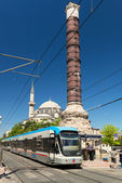 The tram stopped at the column of Constantine in Istanbul — Stock Photo