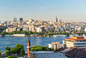 View of the Golgen Horn and Galata district at sunset, Istanbul — Stock Photo