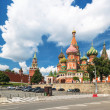 View of the Saint Basil cathedral and the Kremlin in Moscow, Rus — Stock Photo