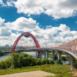 Modern cable-stayed bridge in Moscow — Stock Photo