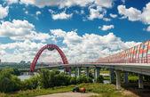 Moderna ponte estaiada em moscou — Foto Stock