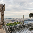 Statues and Chimeras (gargoyles) of the Cathedral of Notre Dame — Stock Photo