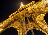 The Eiffel tower at night in Paris — Stock Photo