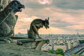 Chimeras of the Cathedral of Notre Dame de Paris — Stock Photo