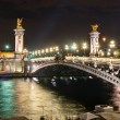 Stock Photo: Alexandre III bridge at night in Paris