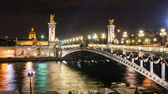 Alexandre III bridge at night in Paris — Stock Photo