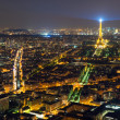 View of Paris with the Eiffel Tower at night — Stock Photo