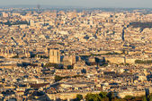 View of Paris from the Montparnasse Tower at sunset — Photo