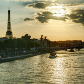 The River Seine with the Eiffel tower in Paris — Stockfoto