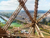 View of Paris from the Eiffel Tower elevator — Stock Photo