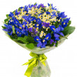 Bouquet of blue irises and daisies — Stock Photo #43774691