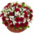 Natural red roses in a basket — Stock Photo #43774719