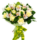 Bouquet of roses and orchids — Stock Photo