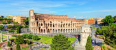 Panoramic view of the Colosseum (Coliseum) in Rome — Stok fotoğraf