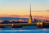 Palace Bridge and Peter and Paul Cathedral in St. Petersburg, Ru — Stock Photo