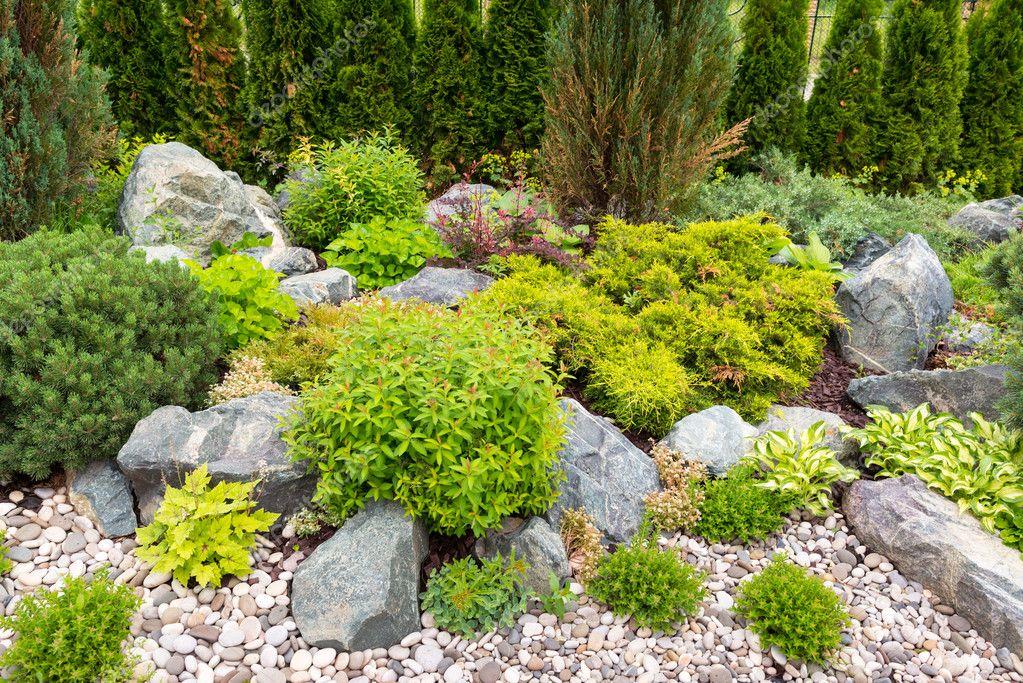 Naturel aménagement paysager dans le jardin. — Photographie ...