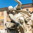 Detail of the Fountain of the Four Rivers at the Piazza Navona i — Stock Photo #49337815